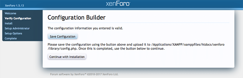 install xenforo step 3