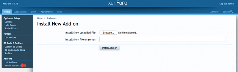 XML File Upload to Install XenForo Addon